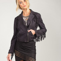 Fringe Suede Moto Jacket - Black - Medium