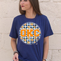 OKC Plaid Blue Crew Neck t-shirt