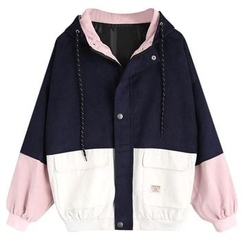 Wipalo Spring Jacket Coat Women Patchwork Color Block Hooded Pocket Corduroy Jackets Autumn Casual Jacket Coats Women Outerwear