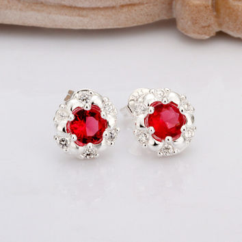 Rainbow Stone  Silver Stud Earrings - 4 Colors