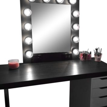 The Hollywood Vanity Makeup Mirror- Matte Black