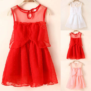 One-Piece New Kids Girl Princess Sheer Tulle Tutu Summer Dress Newborn Toddler Lace Vest Party Sundress