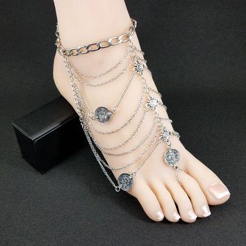 2016 Fashion Bohemia Barefoot Beach Sandals Bridal/wedding Anklet Retro Foot Jewellery Beach Body Chain Anklets For Women Sp201