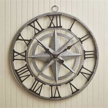"Round 24"" Compass Roman Numeral  Iron and Glass Wall Clock by Park Designs"