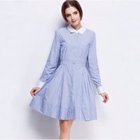 Blue Long Sleeved with Grater on Waist A-Line Dress