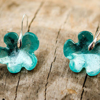 Blue Flowers Resin Earrings wonderful sky silver color, flowers design shape, pure crystals, gentle woman's gift colorful sunlight catchers