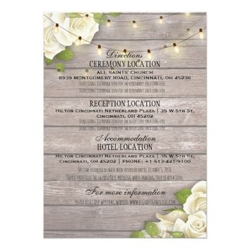 White Watercolor Roses Wedding Details Information Card