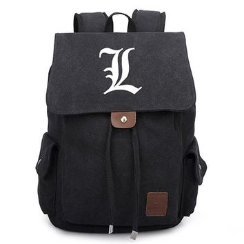 Japanese Anime Bag  Death Note Canvas Backpacks L Killer Vintage School Bags for Teenagers Boys Girls Drawstring Travel Bag AT_59_4