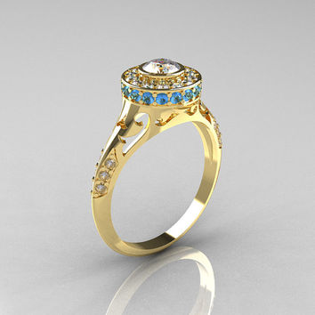 Modern Antique 18K Yellow Gold White Sapphire Aquamarine Diamond Wedding Ring, Engagement Ring R191-18KYGDAQWS