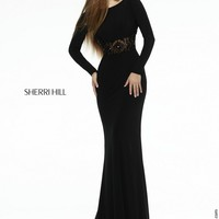Sherri Hill 32121 Long Sleeve Beaded Waist Brush Train