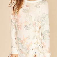Tropical Lace Up Pullover
