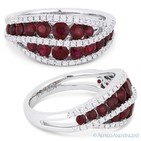 1.54 ct Round Cut Red Ruby & Diamond Pave Right-Hand Ring Band in 18k White Gold