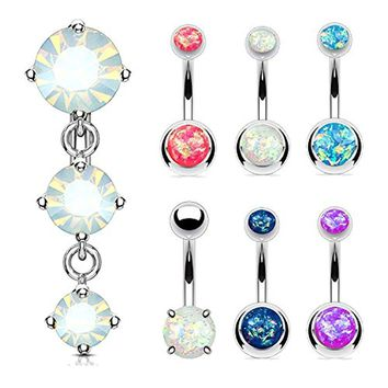 BodyJ4You 7PC Belly Rings 14G Created-Opal Reverse Dangle Stainless Steel Navel Piercing Jewelry
