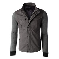 Mens Heavyweight Stand Collar Zip Up Military Jacket (CLEARANCE) (CLEARANCE)