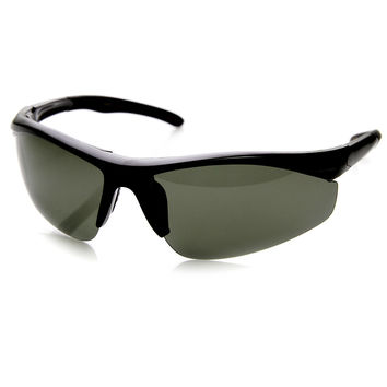 Mens Hard Coated Performance Half Frame Sports Wrap Around Sunglasses 9273