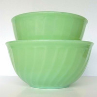 Fire King Jade-ite Swirl Mixing Bowls Set of 2