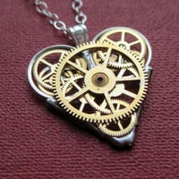 """Mini Watch Parts Heart Necklace """"Confidence"""" Elegant Industrial Heart Pendant Steampunk Mechanical Love Gershenson-Gates Mothers Day"""