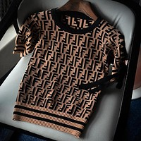 Fendi Woman Men Fashion Print Short Sleeve Top Sweater Pullover