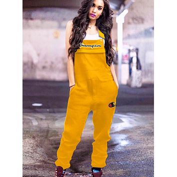 Champion Fashion New Embroidery Letter Leisure Straps Jumpsuit Women Yellow
