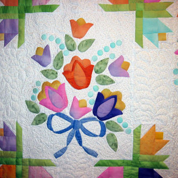 Applique  wall art quilt Be Still my Heart