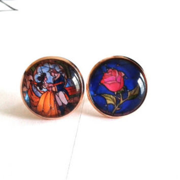 FREE SHIPPING - Made To Order - Beauty & The Beast Earrings