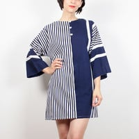Vintage 80s Dress Navy Blue White Striped Mini Dress Kimono Sleeve Dress 1980s Dress New Wave Shift Dress Boho Caftan Dress M Medium L Large