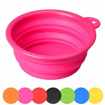 New Qualified Pet Dog Cat Pet Silicone Collapsible Travel Feeding Bowl Water Dish Feeder  Levert Dropship dig649