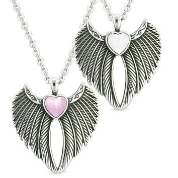 Angel Wings Magic Hearts Love Couples or Best Friends Sweet Pink and White Simulated Cats Eye Necklaces
