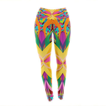 "Danny Ivan ""Tropical Fun"" Yellow Pink Yoga Leggings"
