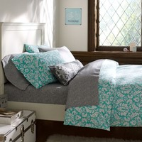 Damask Duvet Cover + Pillowcases, Pool