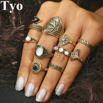 TYO Brand 20 Style Rings Set Chooses Boho Beach Vintage Punk Knuckle Ring For Women Fashion Charm Finger Jewelry Gift for Girl