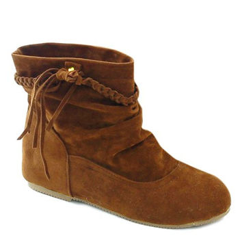 Ankle Boots With Weaving and Ruched Design