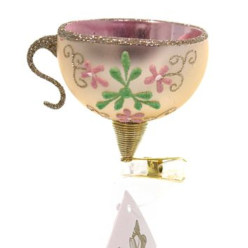 Golden Bell Collection TEACUP CLIP-ON Glass Hand Painted Nvv090