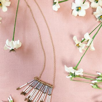 Long Gold Beaded Tassel Necklace- Ivory
