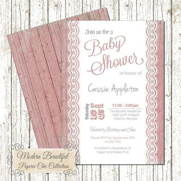 Baby girl shower invitation - pink lace invitation , wood, lace, chic, shabby, modern, baby girl, modern, elegant