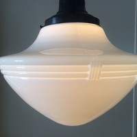 Antique Large White Pendant School Light Very Art Deco 2 Of 3. 1920s