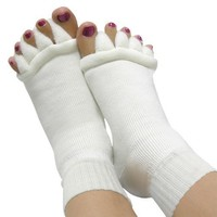 niceeshop (TM) Lady Cotton Comfy Toes Foot Alignment Socks/Happy Feet Socks (L,1Pair,Off White).