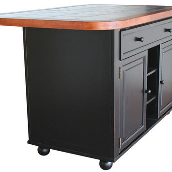 Black Kitchen Island With Cherry Trim and Inlaid Granite Top