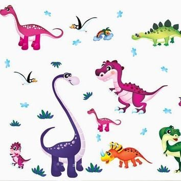 Cartoon Colorful Dinosaurs Wall Stickers PVC DIY Kids Room Nursery Home Decoration Wall Decals Backdrop Wallpaper Lovely