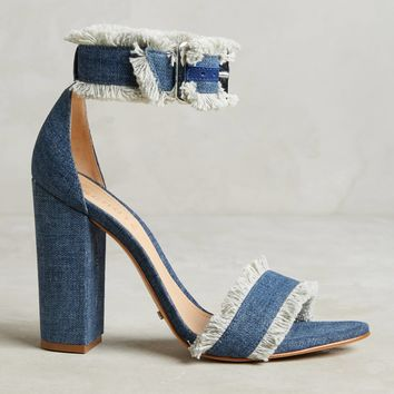 Schutz Janessa Frayed Denim Heels
