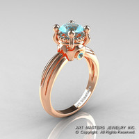 Classic Victorian 14K Rose Gold 1.0 Ct Blue Topaz Solitaire Engagement Ring R506-14KRGBT