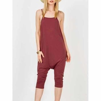 Backless Spaghetti Strap Harem Jumpsuit - Wine Red Xl