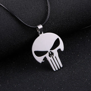 stainless steel MARVEL SKULL The PUNISHER  batman silver leather Pendant Necklace