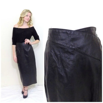 Vintage leather skirt mid calf leather skirt high waisted black patchwork leather biker sheath skirt size small