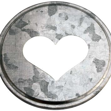 Heart Cutout Galvanized Metal Lid Inserts for Mason Jars (10 Pack, Wide Mouth)