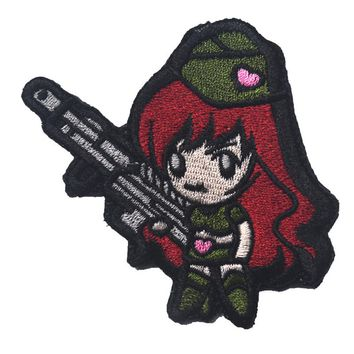 The monkey army fan tactical style cartoon GUN GIRL  tactical military patches badges stickers embroidery  HOOK/LOOP 7*7CM