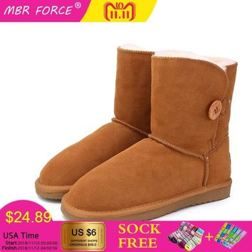 MBR FORCE High Quality Genuine Cowhide Leather  Australia Classic 100% Wool snow boots Women Boots Warm winter shoes for women