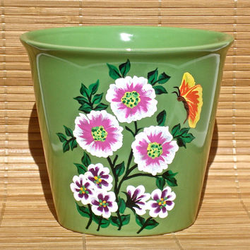 Hand Painted Green Flowerpot With Flowers And A Butterfly