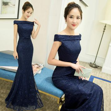 Mermaid Floor Length Prom Dresses Lace Up Long Prom Dress Special occasions Blue Sequined Dresses Boat Neck Evening Dress FD30