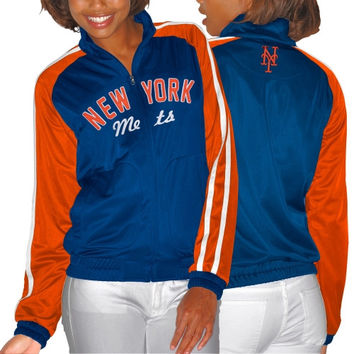 New York Mets Ladies Perfect Match Full Zip Track Jacket - Royal Blue